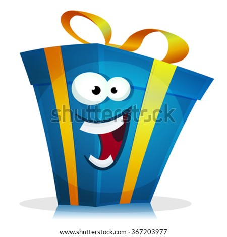 Funny Birthday Gift Character/ Illustration of a cartoon funny christmas, birthday and anniversary gift character happy and cheerful - stock vector