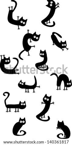 Funny black cats - stock vector