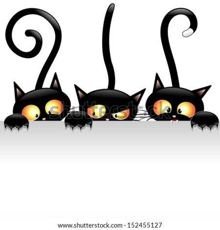 Funny Black Cats Cartoon with White Panel - stock vector