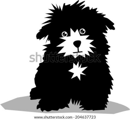 Funny black dog - stock vector