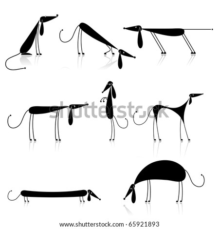 Funny black dogs silhouette, collection for your design - stock vector