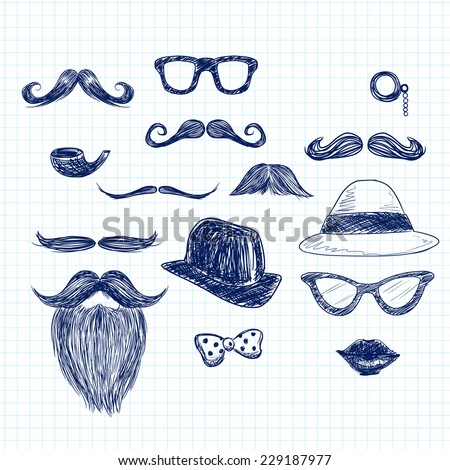Funny blue color hipster doodle elements on paper sheet background - stock vector
