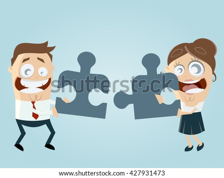 funny business team with jigsaw puzzle working together - stock vector