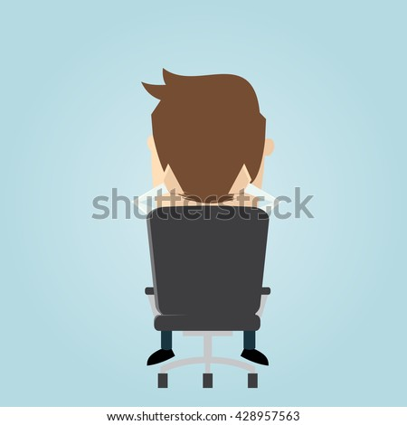 funny businessman sitting in an office chair - stock vector