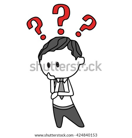 Funny businessman thinking with question marks - stock vector