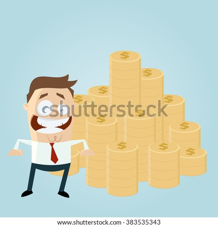 funny businessman with stack of money - stock vector
