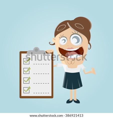 funny businesswoman with checklist - stock vector
