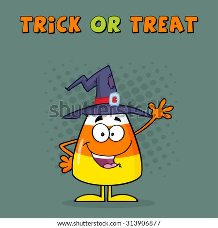 Funny Candy Corn Cartoon Character With A Witch Hat Waving. Greeting Card Vector Illustration  - stock vector