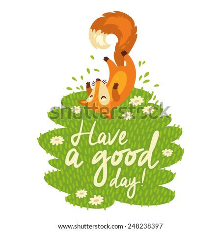 Funny card with cute foxes in cartoon style. Vector illustration - stock vector