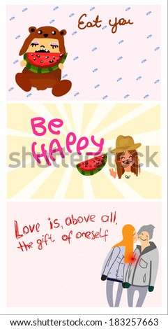 funny cards - stock vector