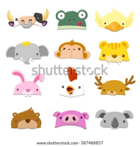 Funny Cartoon Animals Hat set - vector illustration - stock vector