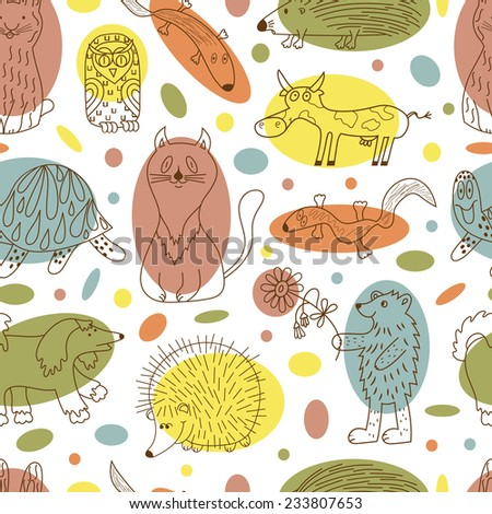 Funny cartoon animals seamless pattern. Colorful Kids background. - stock vector