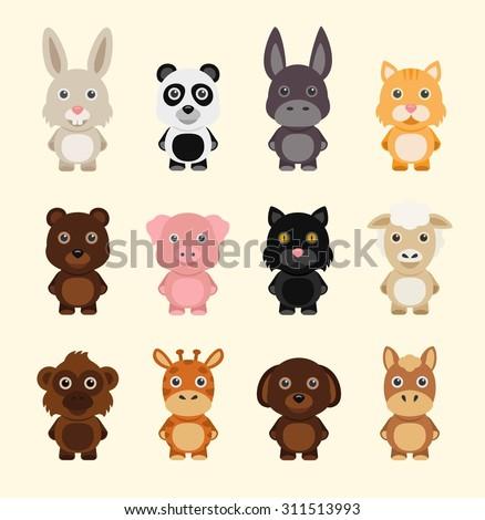 Funny cartoon animals. Vector illustration icons set with rabbit panda cat dog monkey sheep donkey horse pig - stock vector