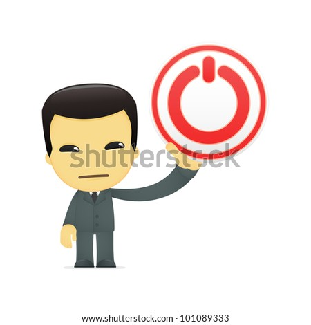 funny cartoon asian businessman in various poses for use in advertising, presentations, brochures, blogs, documents and forms, etc. - stock vector