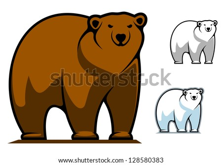 Funny cartoon bear for mascot or tattoo design, such as idea of logo. Jpeg version also available in gallery - stock vector