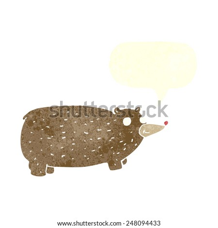 funny cartoon bear with speech bubble - stock vector
