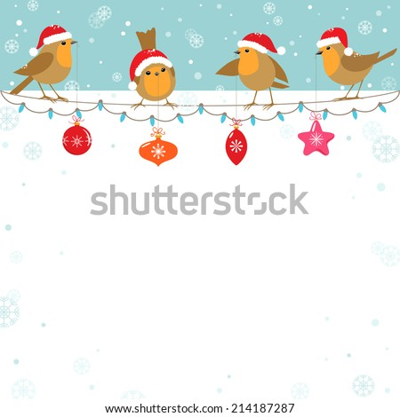 Funny cartoon birds with Christmas decoration. - stock vector