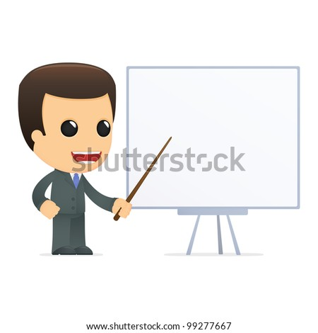 funny cartoon boss in various poses for use in advertising, presentations, brochures, blogs, documents and forms, etc. - stock vector