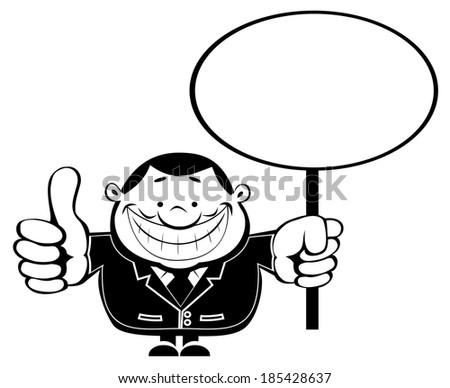 Funny cartoon businessman holding blank sign. Vector EPS8 - stock vector