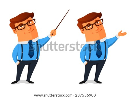 funny cartoon businessman presenting or showing something - stock vector
