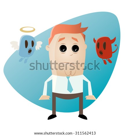 funny cartoon businessman with angel and devil - stock vector