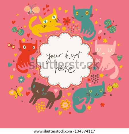 Funny cartoon cats in vector. Bright childish card. Ideal for birthday invitations. - stock vector