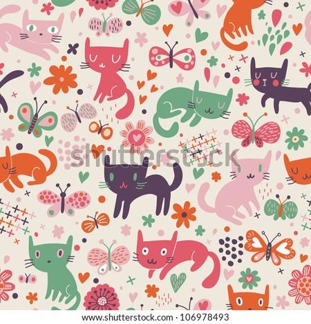 Funny cartoon cats. Seamless pattern - stock vector