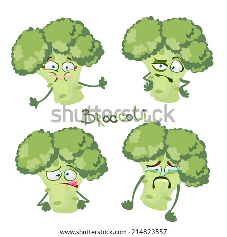 Funny cartoon character with many expressions Broccoli - stock vector