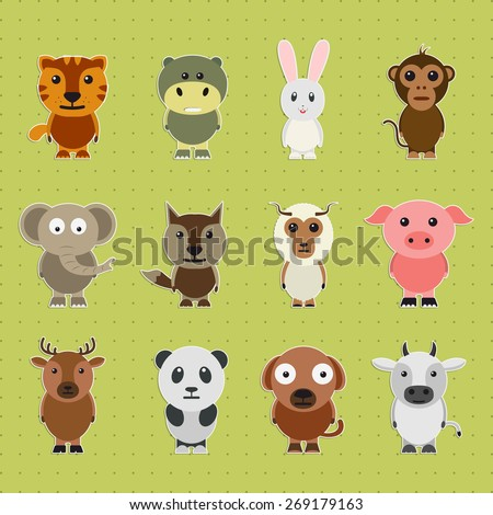 Funny cartoon characters of wild and pet animals on green background. - stock vector