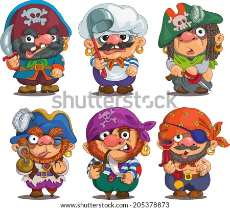 Funny cartoon. Characters. Pirates set. Isolated objects. - stock vector