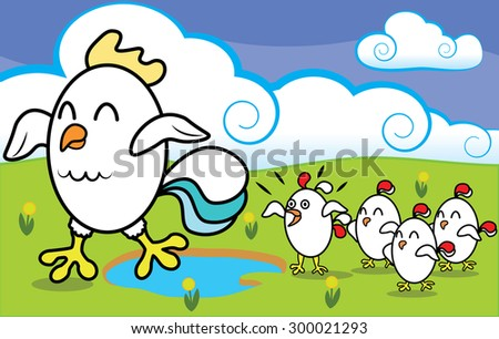 Funny cartoon chicken with chickens walking on ecologically clean grass at the farm vector illustration - stock vector