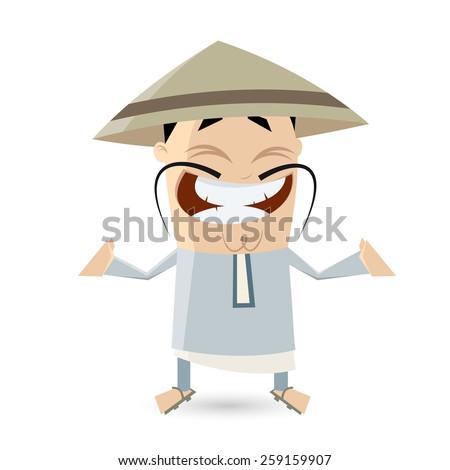 funny cartoon Chinese man  - stock vector