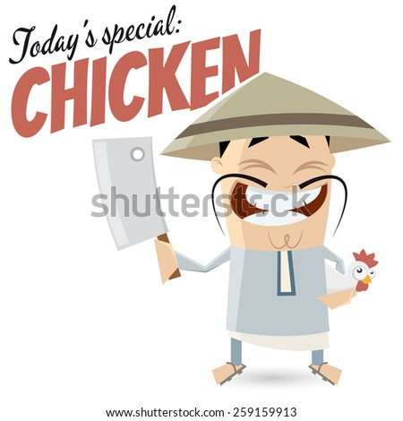 funny cartoon Chinese with chicken  - stock vector