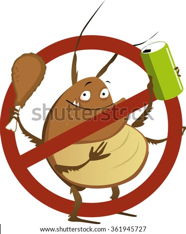 Funny cartoon cockroach with a soda drink and a drumstick in a stop sign, EPS 8 vector illustration - stock vector