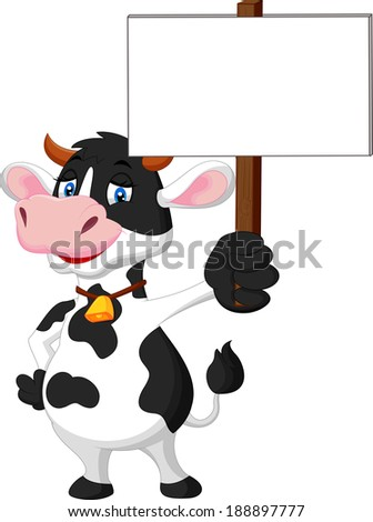 Funny cartoon cow holding blank sign - stock vector