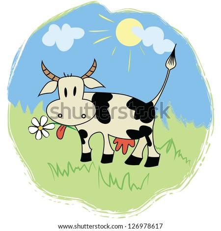 Funny cartoon cow on green grass - stock vector