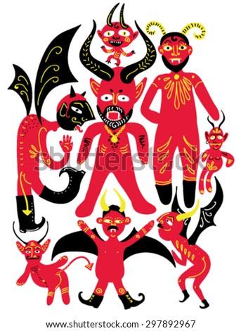 Funny cartoon devils vector - stock vector