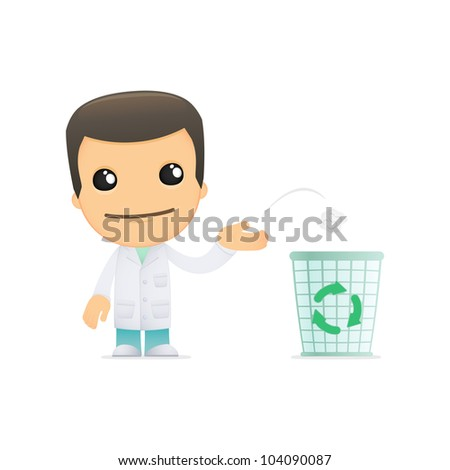 funny cartoon doctor in various poses for use in advertising, presentations, brochures, blogs, documents and forms, etc. - stock vector