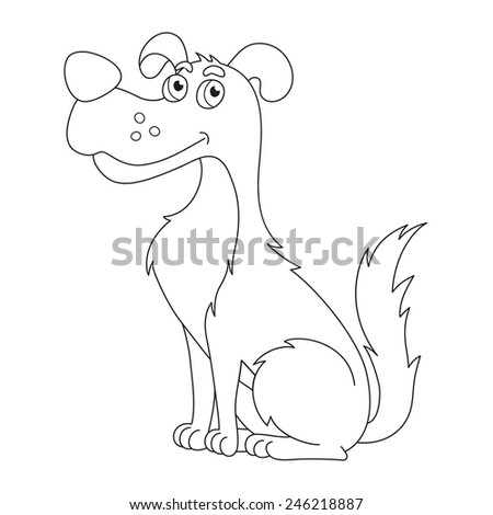Funny cartoon doggy, vector illustration of cute sly dog, coloring book page for children - stock vector