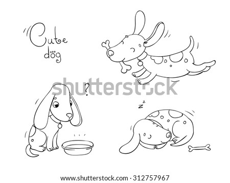Funny cartoon dogs with a bone on white background. Coloring book. Hand drawn vector - stock vector