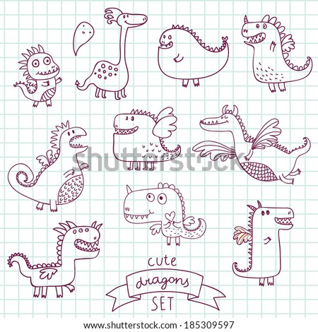 Funny cartoon dragon set in vector. Doodle fantastic characters - stock vector