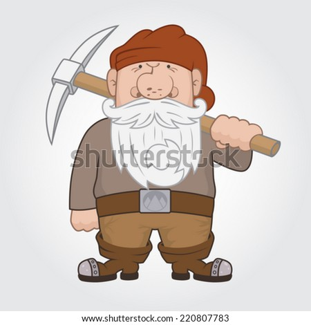 Funny cartoon Dwarf with pick. Vector Illustration - stock vector