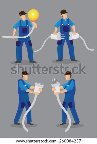 Funny cartoon electricians wearing blue overall work clothes and holding oversized light bulb, electrical male plugs and female jacks. Vector illustration isolated on plain grey background. - stock vector