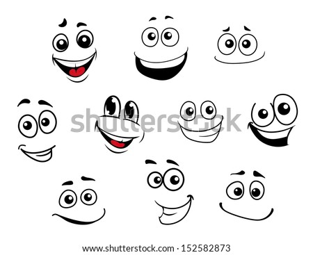 Funny cartoon emotional faces set for comics design. Jpeg version also available in gallery - stock vector