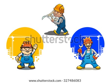 Funny cartoon engineer with building project, construction worker with spanner and bricklayer with trowel, for construction industry theme - stock vector