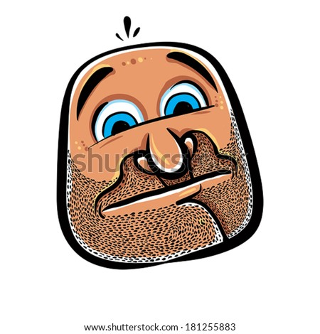 Funny cartoon face with stubble, vector illustration. - stock vector