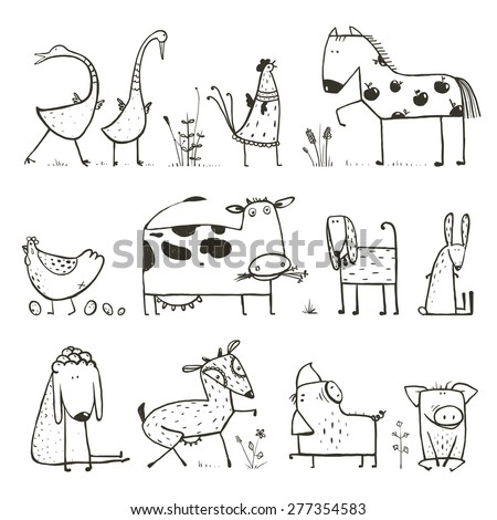 Funny Cartoon Farm Domestic Animals Collection for Kids Coloring Page. Countryside cottage animals illustration for children coloring book. Vector EPS10. - stock vector