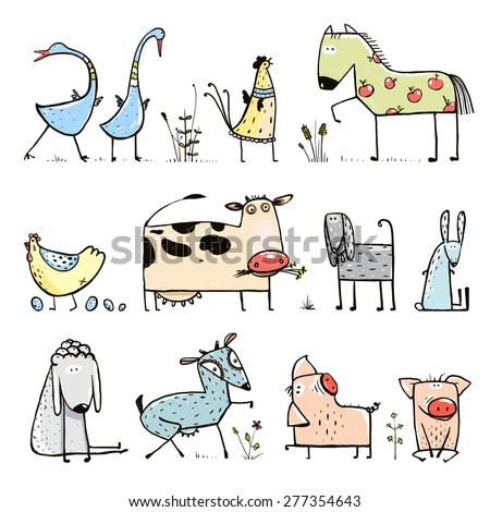 Funny Cartoon Farm Domestic Animals Collection for Kids. Countryside cottage animals illustration for children. Vector EPS10. - stock vector