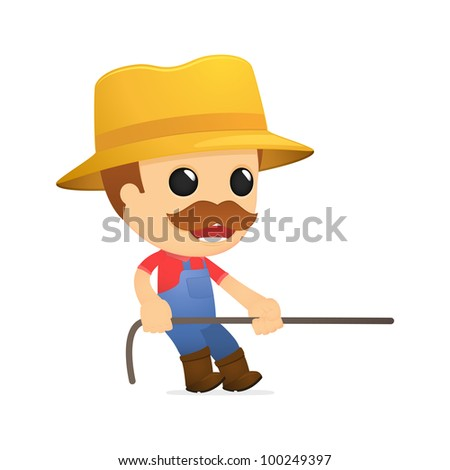 funny cartoon farmer in various poses for use in advertising, presentations, brochures, blogs, documents and forms, etc. - stock vector