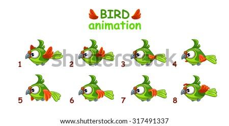 Funny cartoon flying green parrot, bird animation frames - stock vector